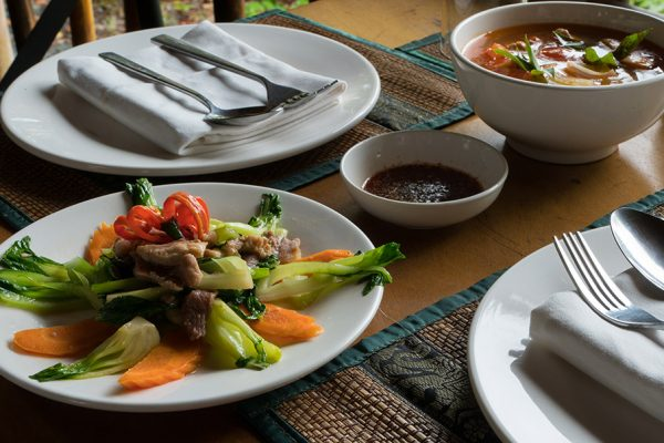 Tom Yam and Fried Veg Riverbank Restaurant